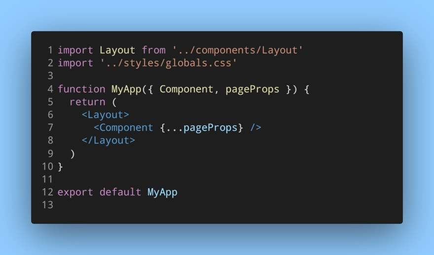 _app.js component after using the Layout.js wrapper component