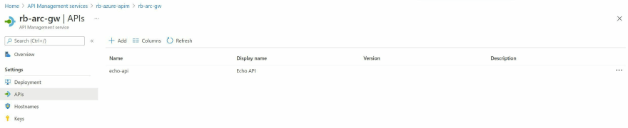 Screenshot showing the API now associated with the self-hosted gateway