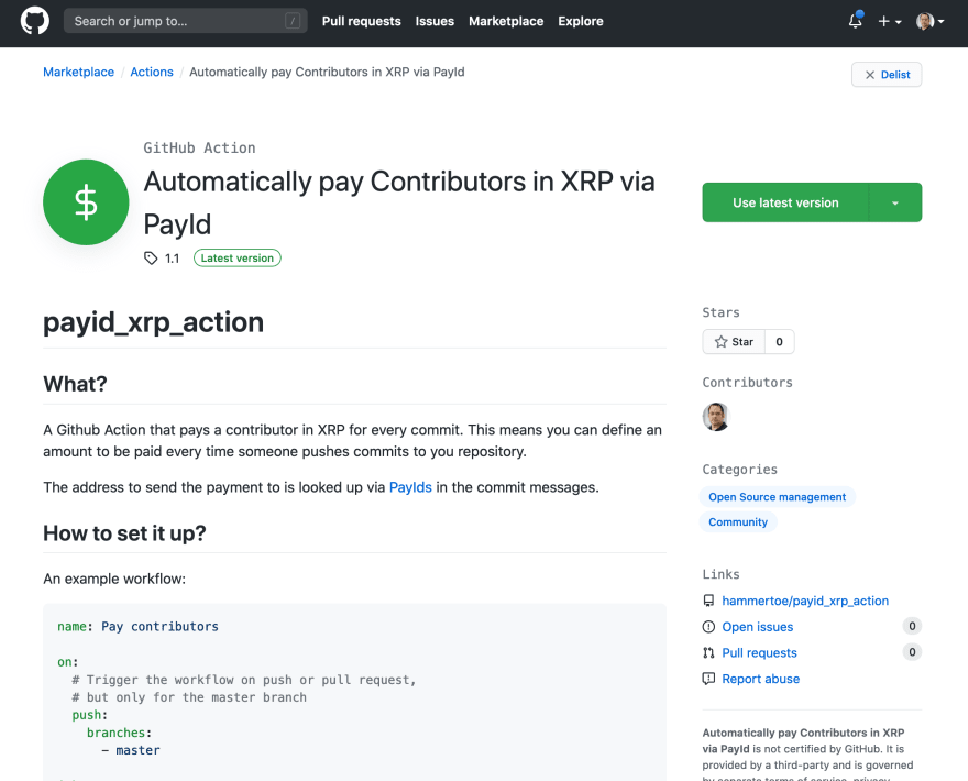 Screenshot of entry in Github Actions marketplace