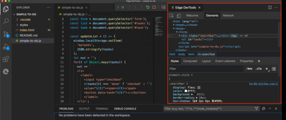 Cover image for Debugging JavaScript, DOM, CSS and accessing the browser console without leaving Visual Studio Code