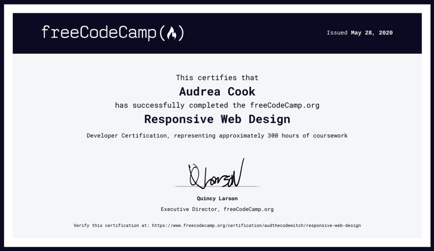 Responsive Web Design certificate of completion