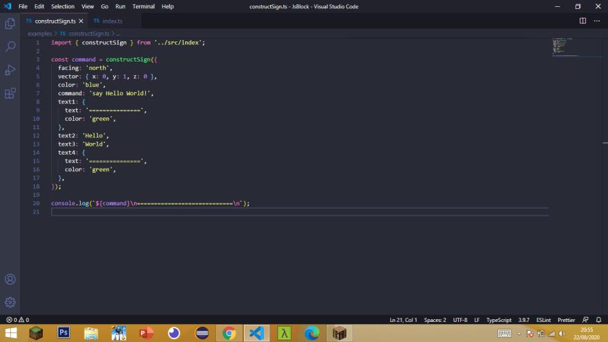 JsBlock: constructSign method