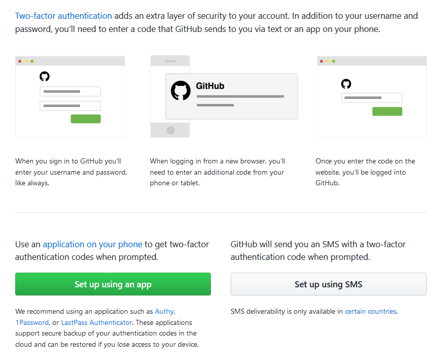 Screenshot showing the setup page for configuring two factor authentication on github