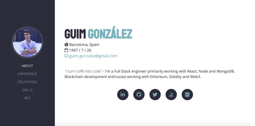 Developer portfolio snapshot - Guim González