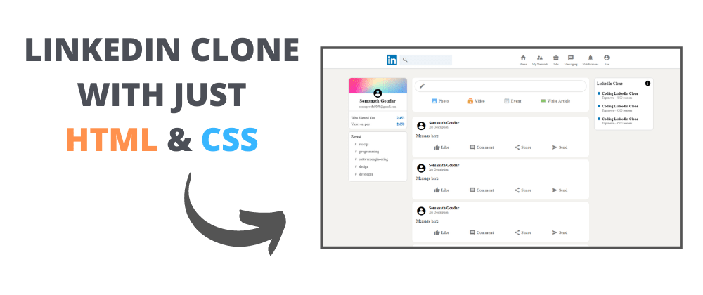 Cover image for Build a LinkedIn Clone Using just HTML & CSS - Beginners Tutorial