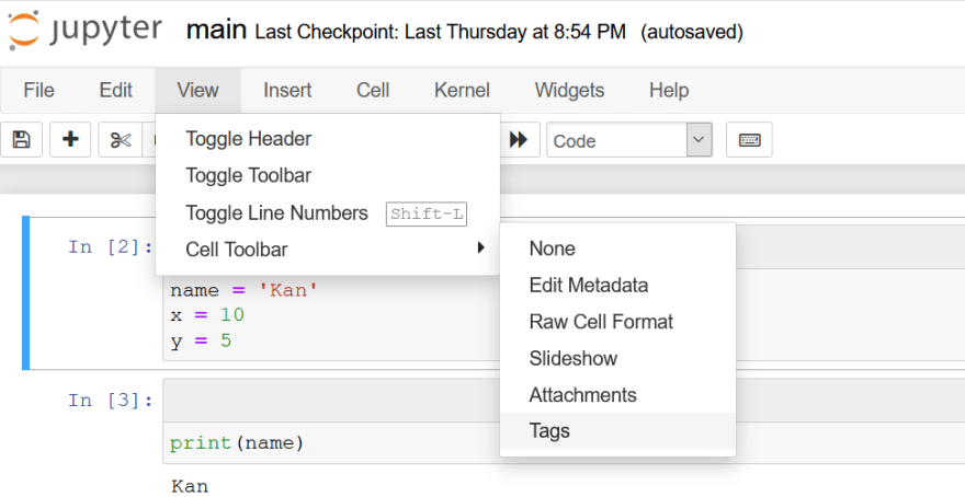 Set up tags for a cell