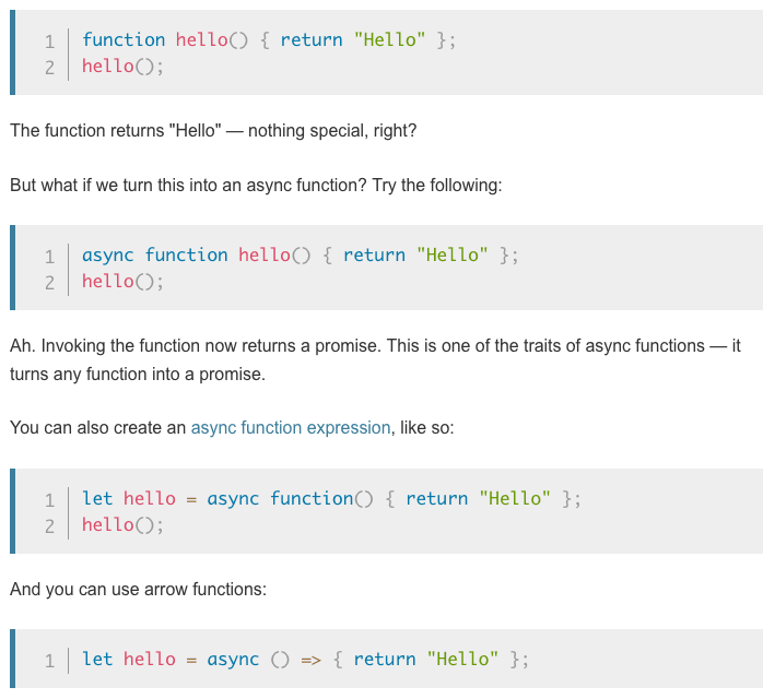 Screenshot of MDN article showing syntax for async functions