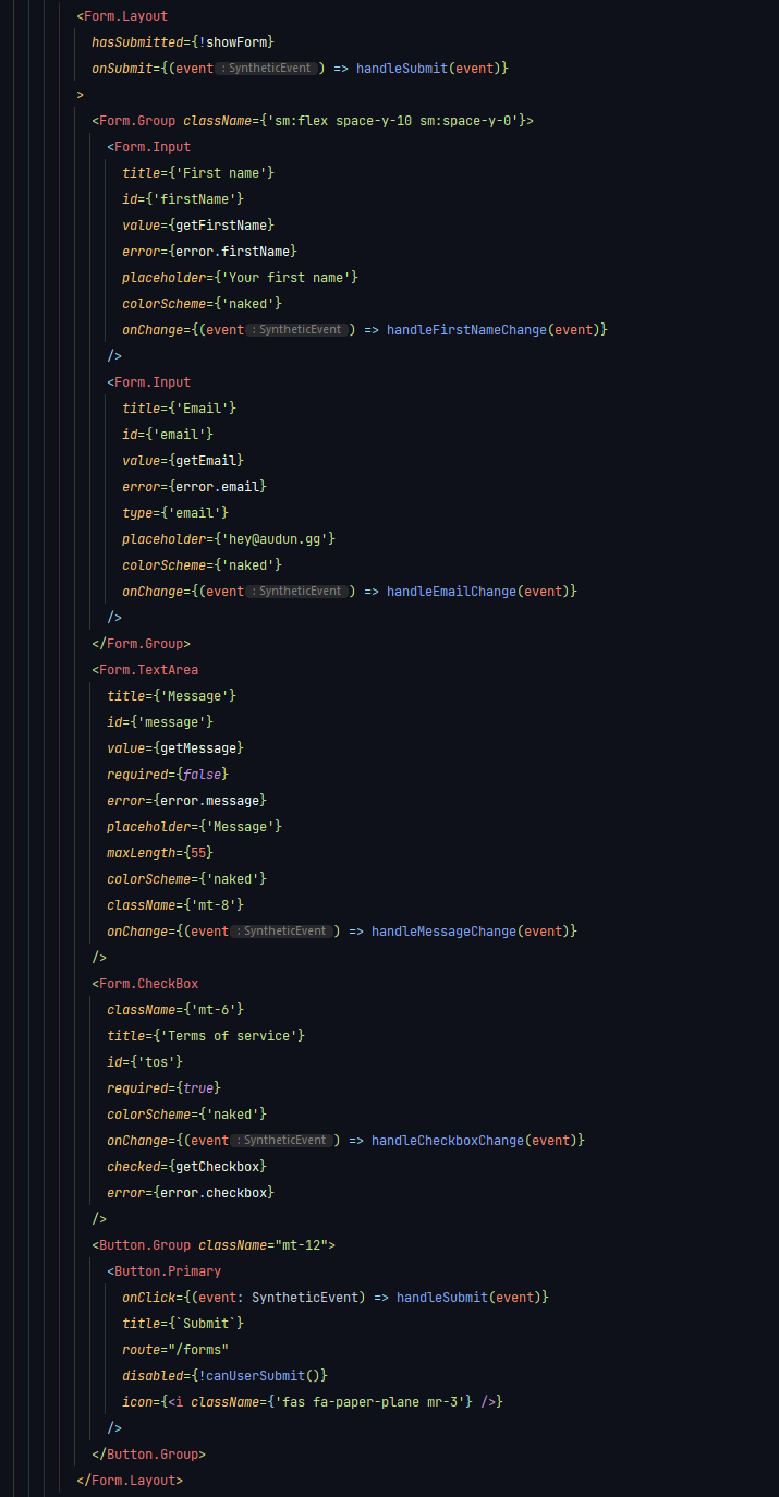 Code for forms