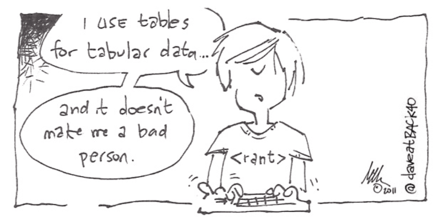Cartoon of a developer saying: I use tables for tabular data... and it doesn't make me a bad person