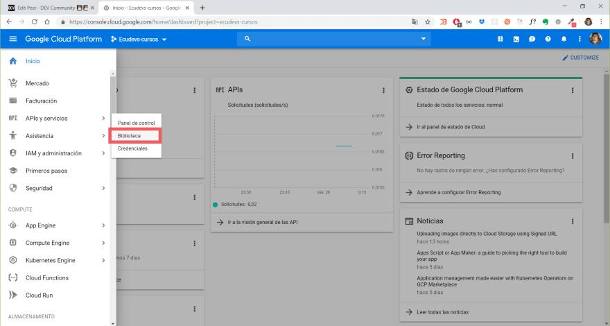 Acesso a la biblioteca de APIs