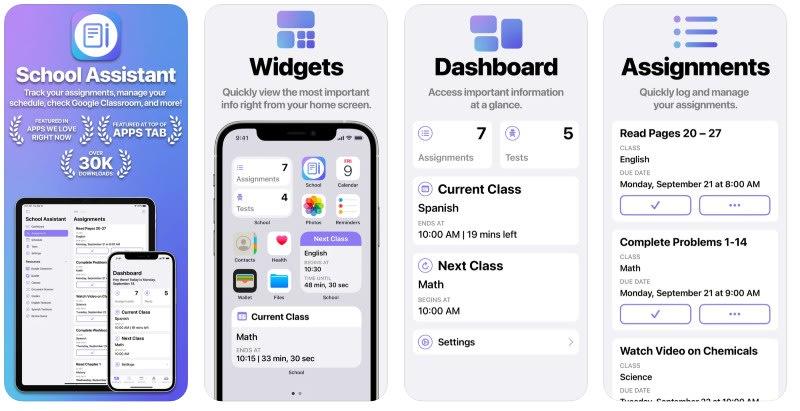 React Native apps: School Assistant app screenshots