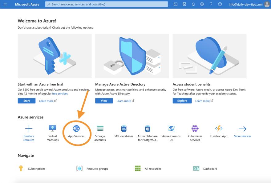 Azure portal homepage