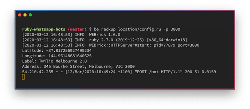 A terminal window showing the logs from the request. I sent a message from the Twilio office and it shows the latitude, longitude, label and address.