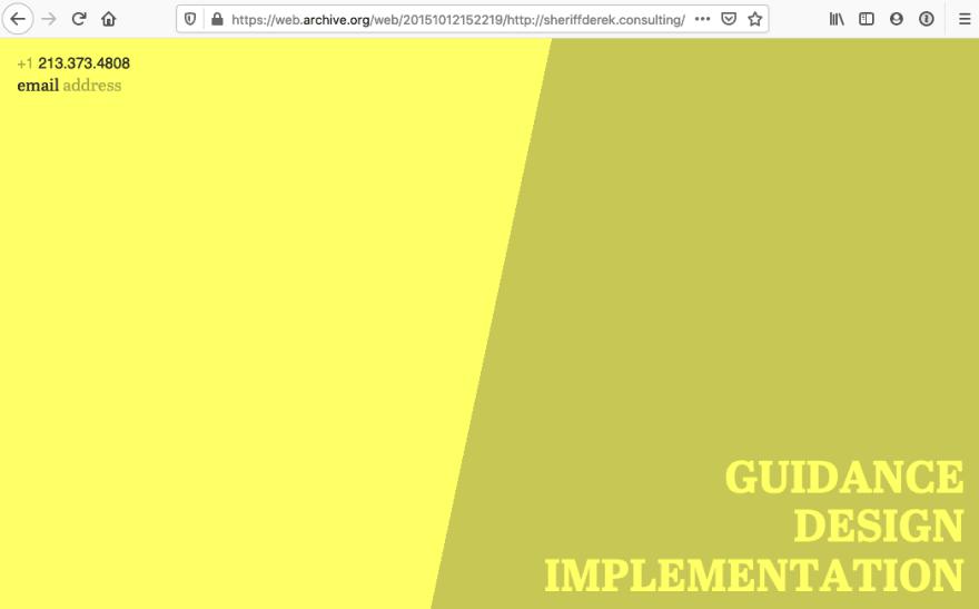 Image of @sheriffderek's old website from 2015