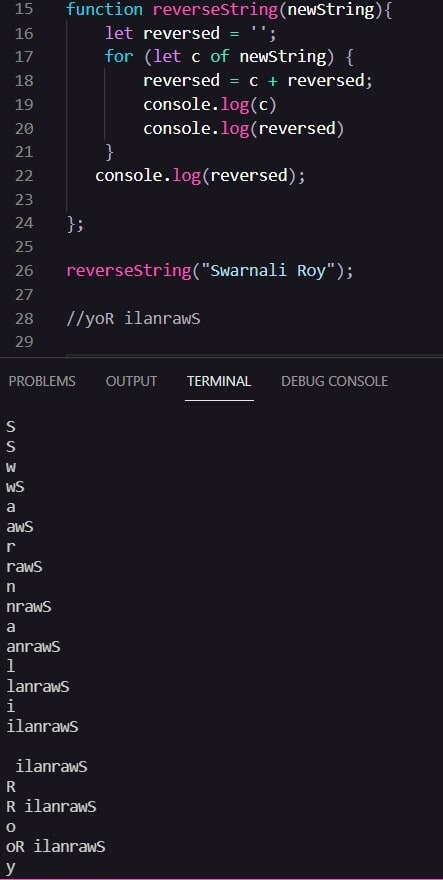 For of loop with console