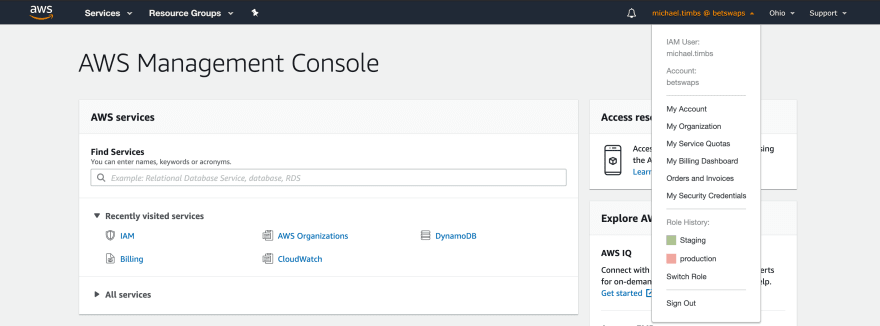 AWS Console — Switch Roles