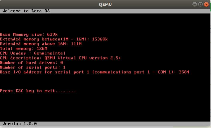 Hardware Information Display on Leta OS