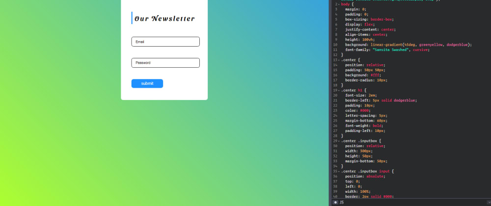 Cover image for CSS Newsletter with Animated Floating