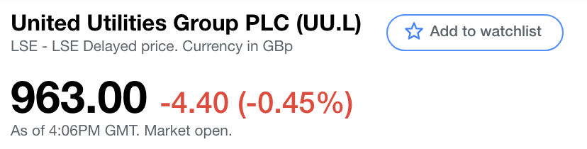An example of United Utilities from the Yahoo Finance page.