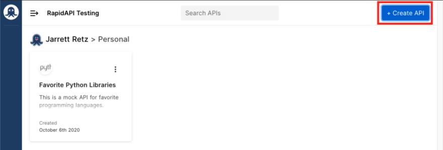 Create new api button