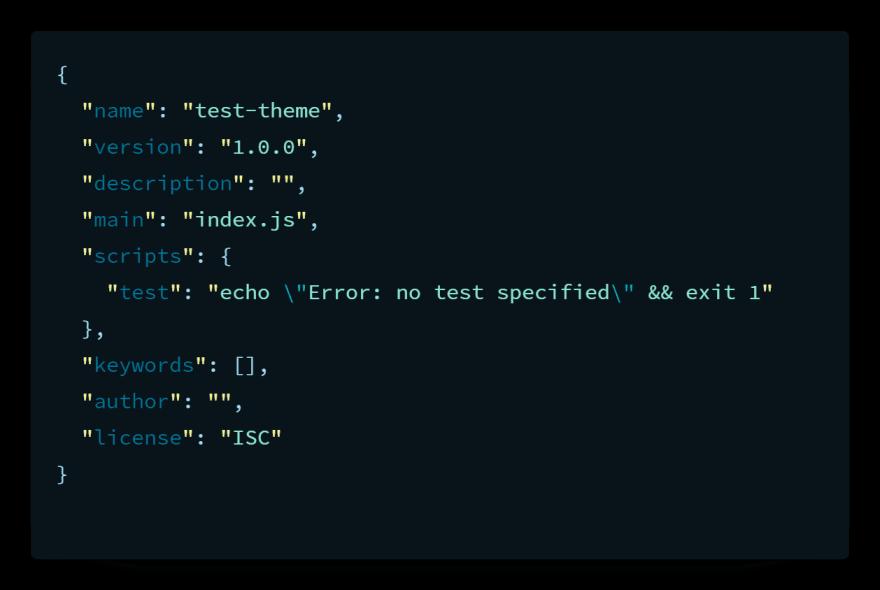 package.json file starter