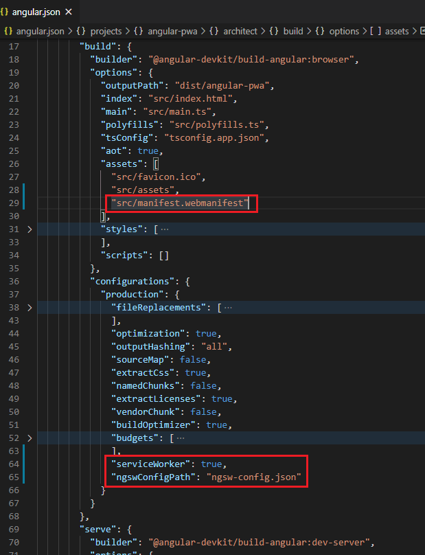 """angular.json code window. Line 29 reading """"""""src/manifest.webmanifest"""""""", line 64 reading """"""""serviceWorker"""": true,"""" and line 65 reading """"""""ngswConfigPath"""": """"ngsw-config.json"""""""" have been highlighted with a red box."""