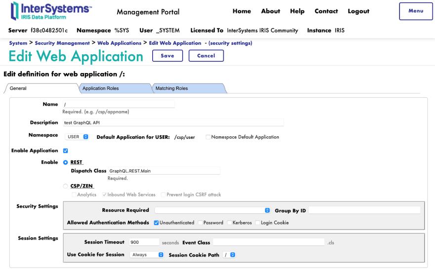 the settings for a GraphQL web application