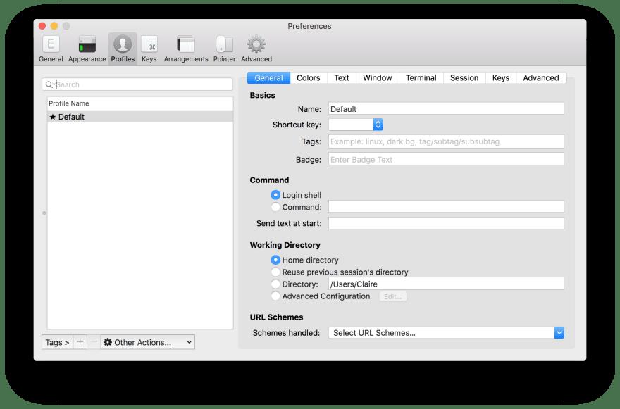 iTerm2 profiles menu