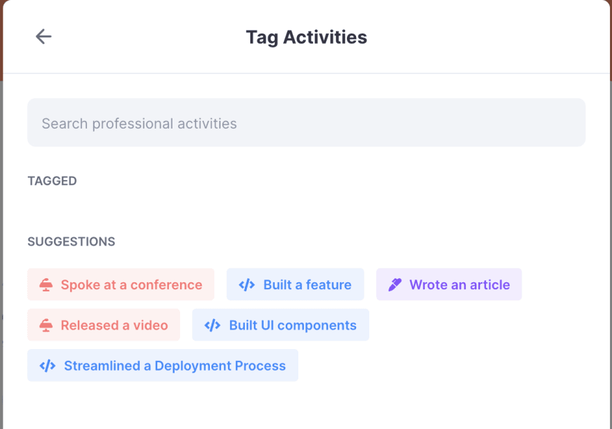 Activity Tags Selection
