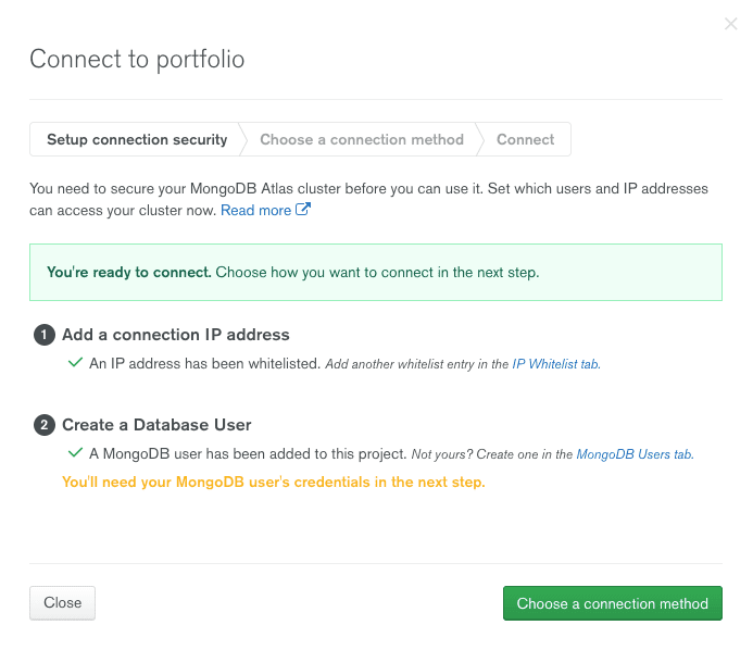 Connecting to the database at MongoDB Atlas