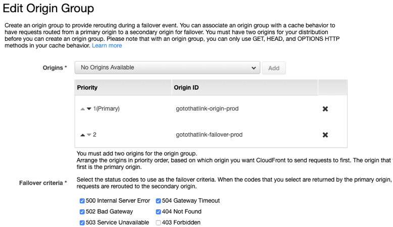 origin group settings