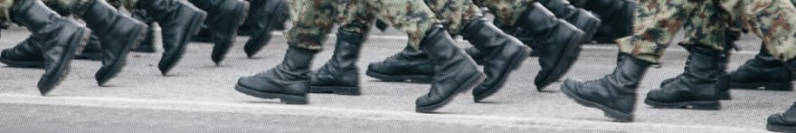 Army platoon marching boot shot. Photo by Filip Andrejevic<br>