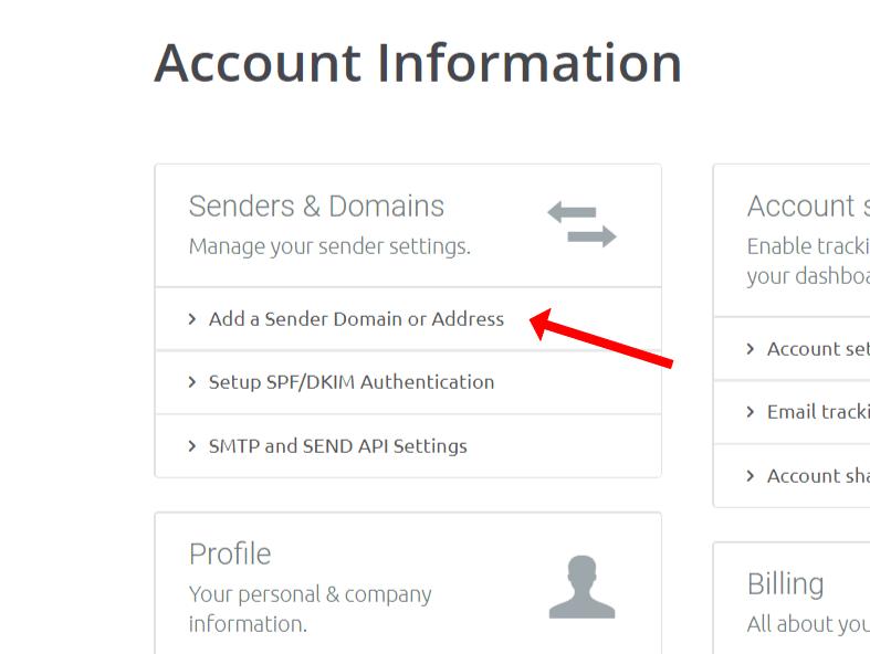 Select 'Add a sender domain ir address
