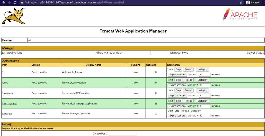 tomcat webapp page