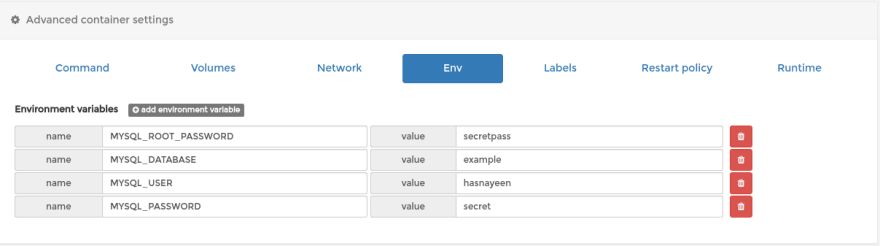 Add environment variable for our container