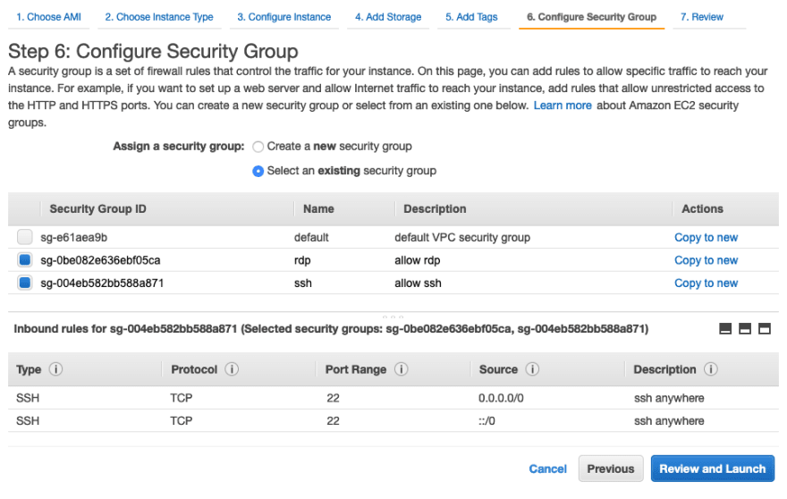 Security Group: allow SSH and RDP