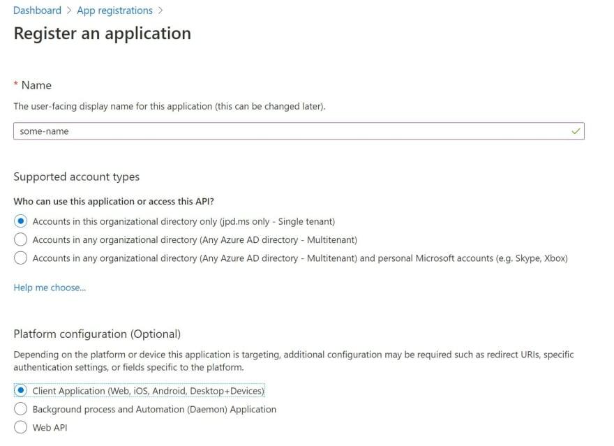 azure ad app registration page