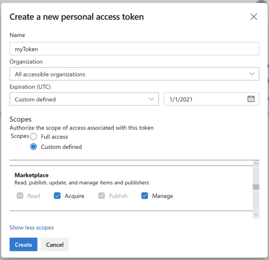 Managing scopes for your Personal Access Token