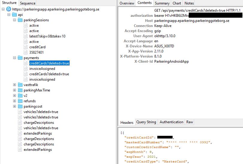 Exposed API of Parkering Göteborg