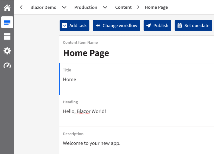 Kontent Blazor App Home Page