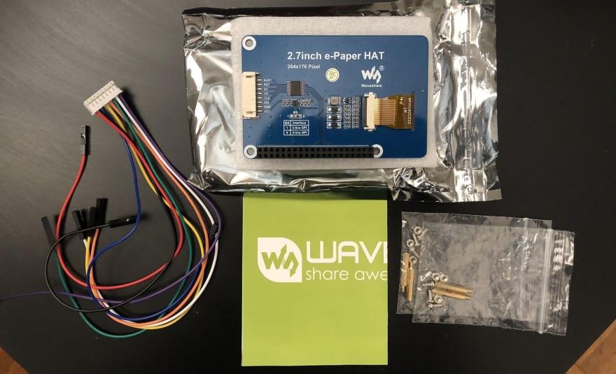 e-Paper PCB, manual, GPIO wires, screws
