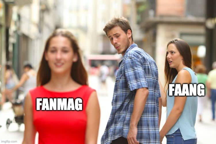 Man looking back at text overlaid on woman that says FANMAG, while holding hands with a woman who has text overlaid that says FAANG