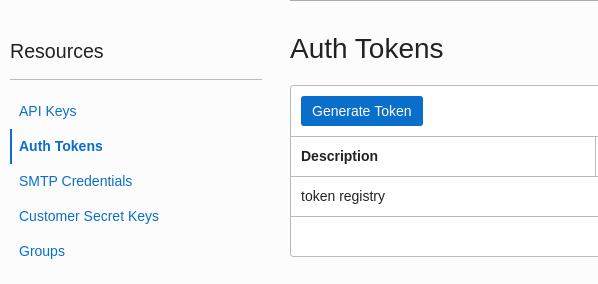 Menu Auth Tokens - Oracle Cloud
