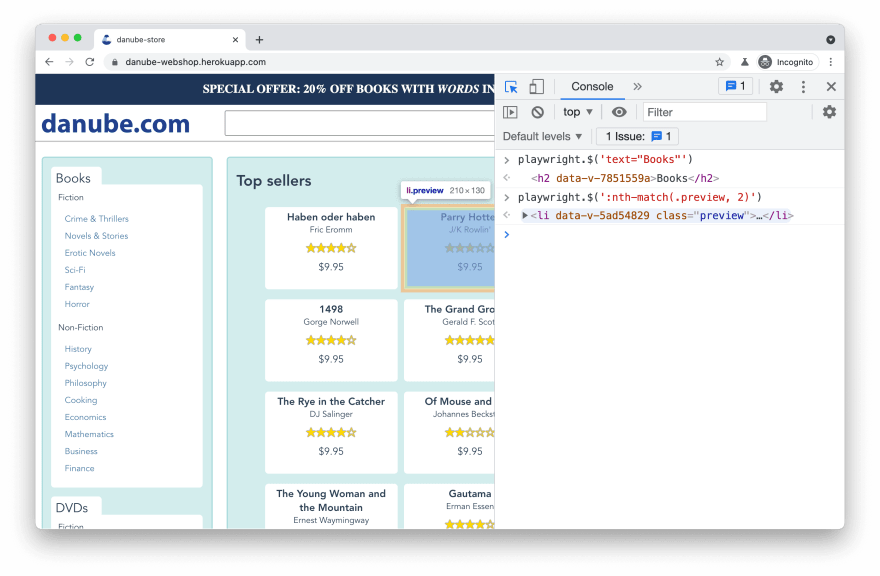 debugging playwright-specific selectors in browser console