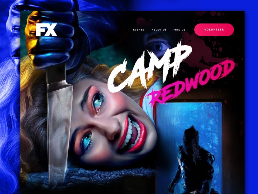 image from tv show stylized in 80s horror theme, campy! Bright neons with a woman and a knife on the head