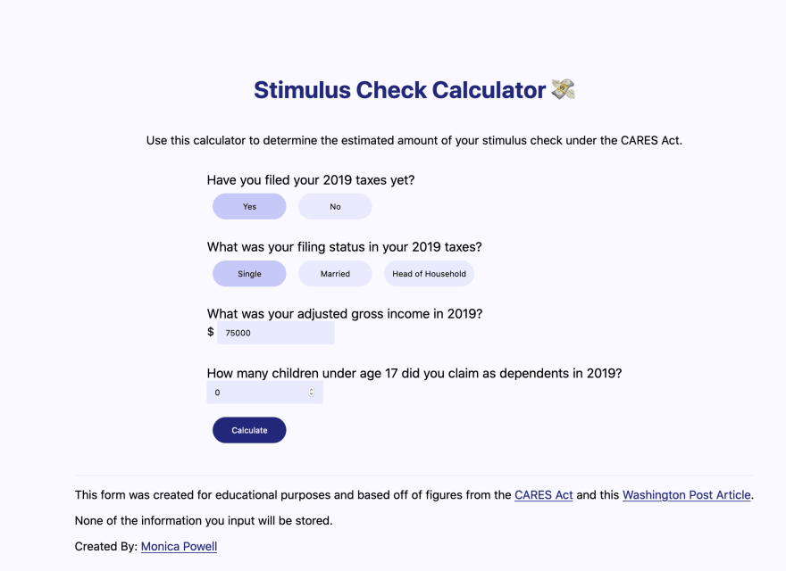 screenshot of the stimulus check calculator app