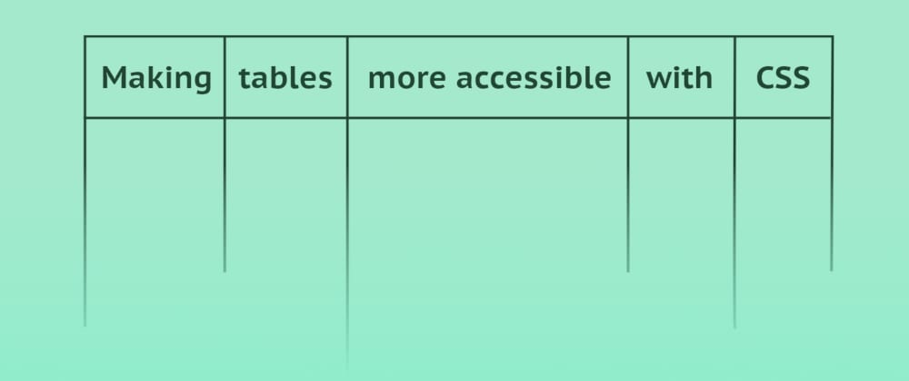 Cover image for Making tables more accessible with CSS