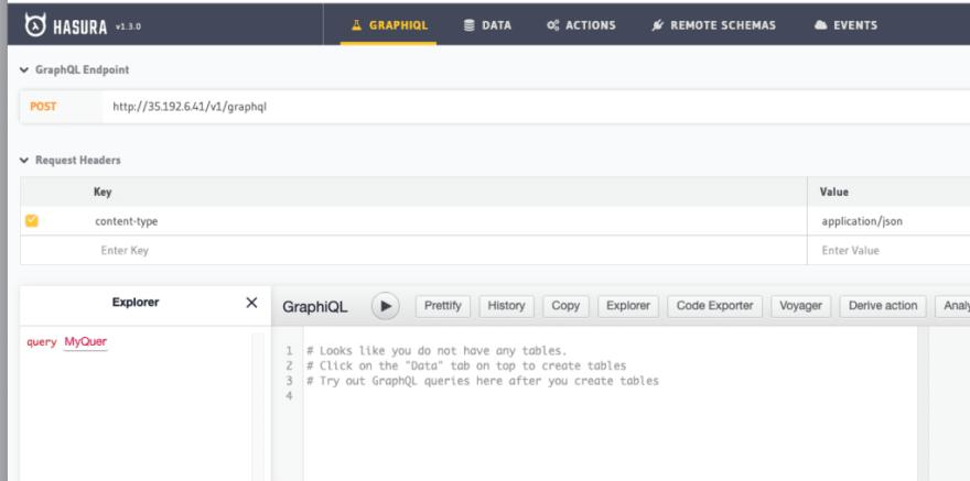 see the hasura console graphql distributed sql yugabytedb tutorial