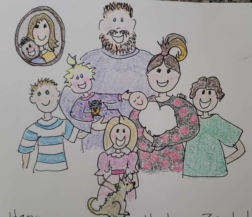 Zack's cartoonish family portrait