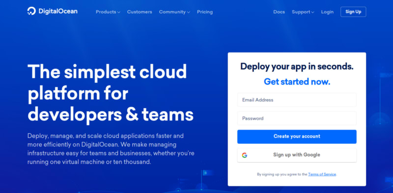 DigitalOcean Website Screenshot by steadylearner